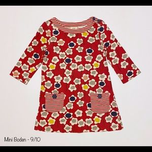 Mini Boden Pink Floral Pocketed Dress - 9/10